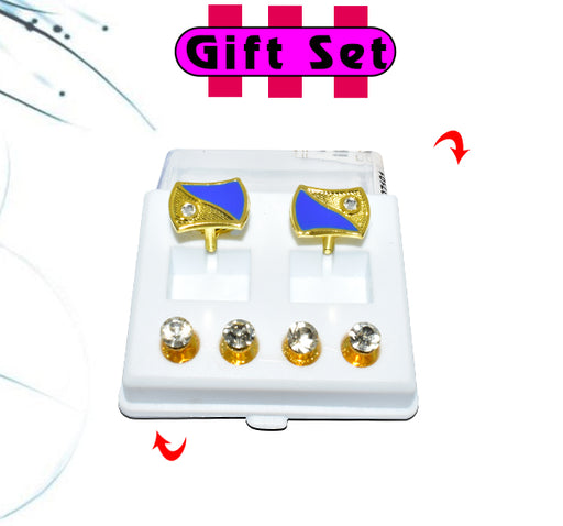 2 In 1 Gift Set For Men Blue Cufflinks, & Silver Buttons - Hiffey