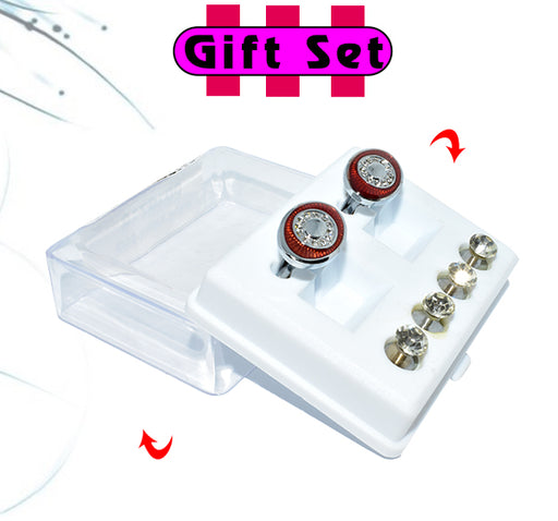 2 In 1 Gift Set For Men Maroon Cufflinks, & Silver Buttons - Hiffey