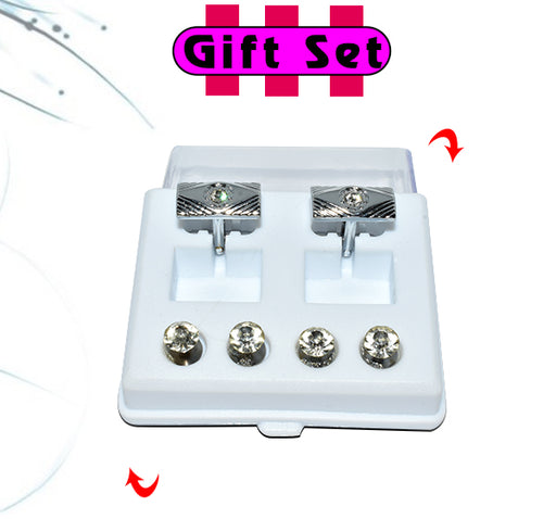 2 In 1 Gift Set For Men Silver Cufflinks, & Silver Buttons - Hiffey