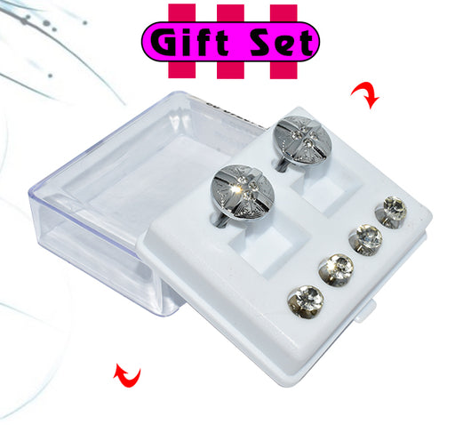 2 In 1 Gift Set For Men Silver Round Cufflinks, & Silver Buttons - Hiffey