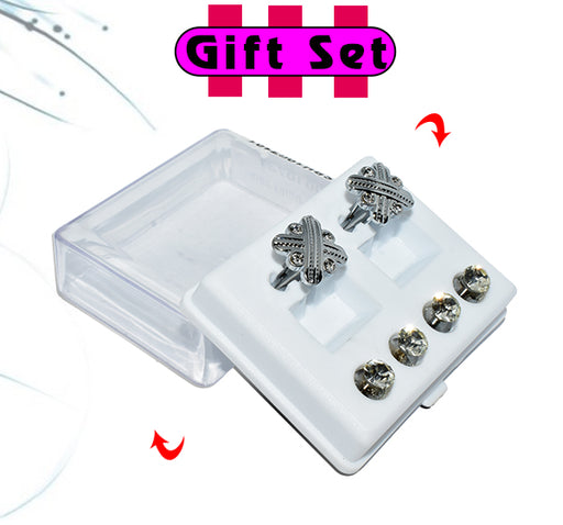 2 In 1 Gift Set For Men Silver Star Shape Cufflinks, & Silver Buttons - Hiffey