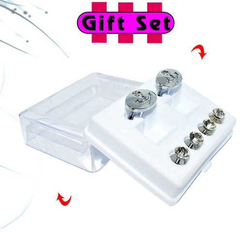 2 In 1 Gift Set For Men Silver Oval Cufflinks, & Silver Buttons - Hiffey
