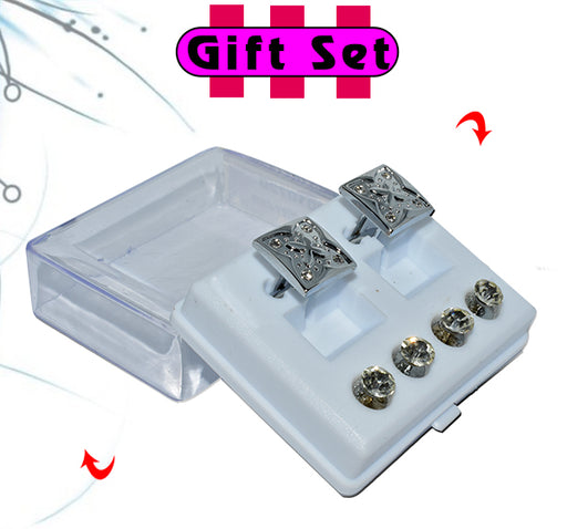 2 In 1 Gift Set For Men Silver Square Cufflinks, & Silver Buttons - Hiffey
