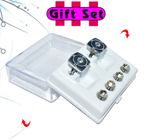 2 In 1 Gift Set For Men Blue Square Cufflinks, & Silver Buttons - Hiffey