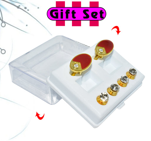 2 In 1 Gift Set For Men Red Oval Cufflinks, & Silver Buttons - Hiffey