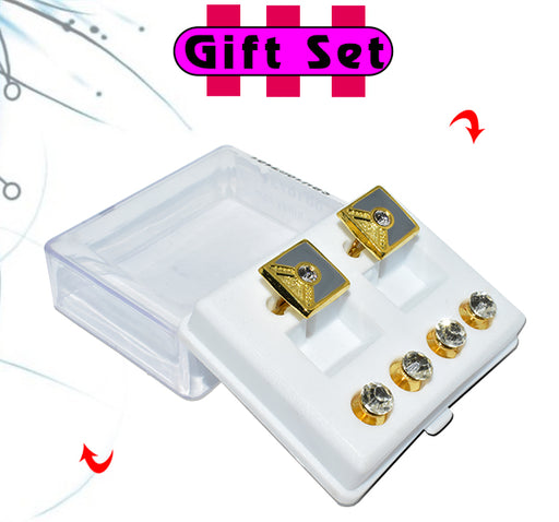 2 In 1 Gift Set For Men Multicolor Cufflinks, & Silver Buttons - Hiffey