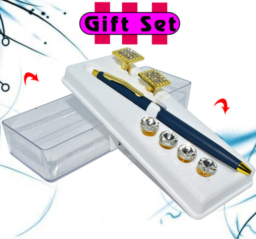 3 In 1 Gift Set For Men Black Pen, Golden Cufflinks, & Buttons - Hiffey