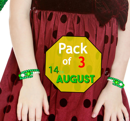 Azadi Acrylic Pearl Beads Bangles For Kids - Dark Green & White - Pack Of 3 - Hiffey