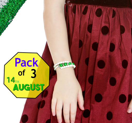 14 August Acrylic Pearl Beads Bangles For Kids - Green & White - Pack Of 3 - Hiffey