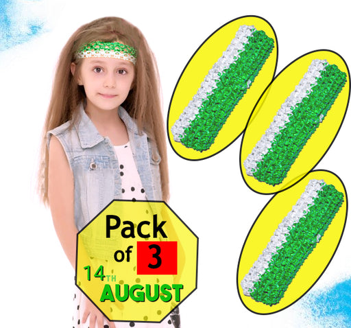 14 August Stretchable Hair Band For Girls - Green & White - Pack of 3 - Hiffey