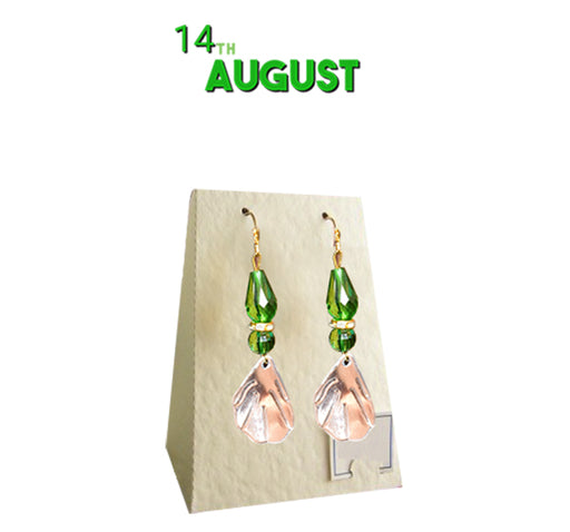 14th August Azadi Ear Rings For Girls - Green & White - Hiffey