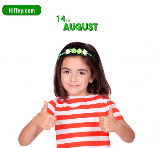 14 August Floral Beads Hair Band For Girls - Green & White - Hiffey