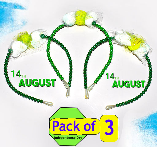 14 August Floral Beads Hair Band For Girls - Dark Green - Hiffey