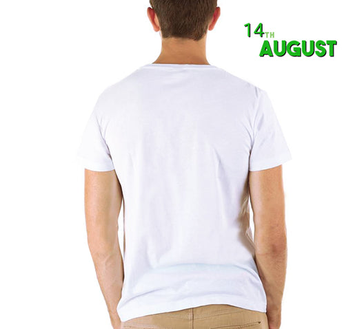 Happy Pakistan Day T-Shirt For Men's - Green & White - Hiffey