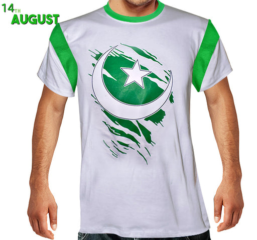 Chaand Sitara Printed T-Shirt For Men's - Green & White - Hiffey