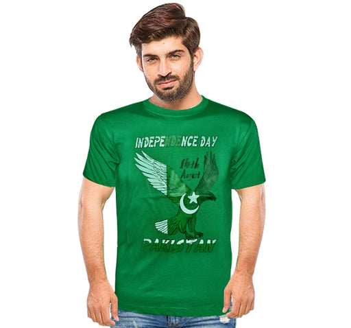 14 August Shaheen Printed T-Shirt For Men's - Light Green - Hiffey