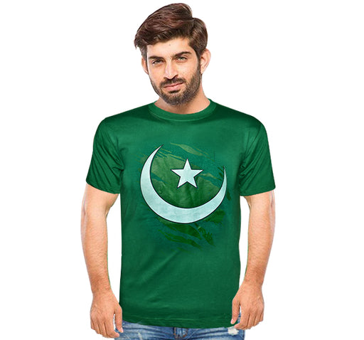 Pakistani Flag Printed T-Shirt For Men's - Dark Green