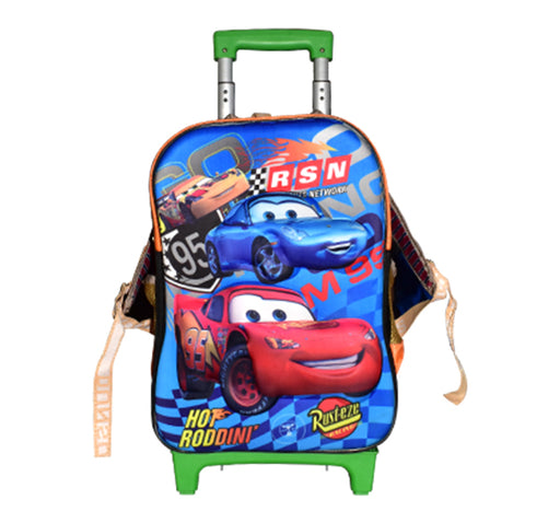 RustEaze Racing Cars Trolley School Bag - Multicolor - Hiffey