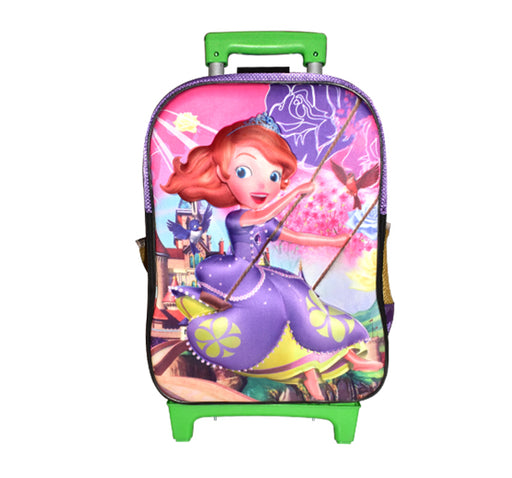 Little Cinderella Character Trolley School Bag For Kids - Multicolor - Hiffey