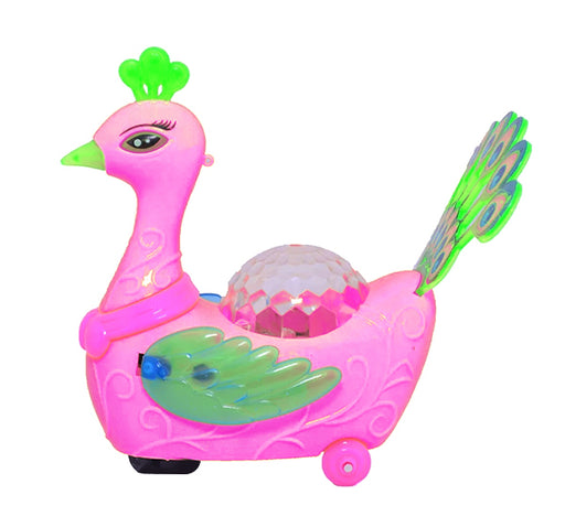 Electric Peacock Light and Music Toy For Kids - Pink - Hiffey