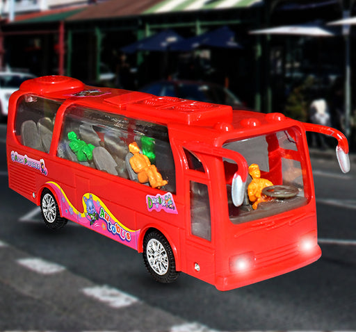 Grand Auto Bus Light & Music Toy For Kids - Red - Hiffey
