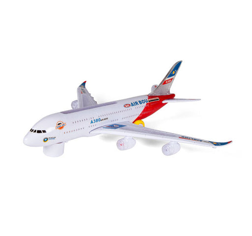 Air Bus All World Airways Flash Electric A380 Toy For Kids - White - Hiffey