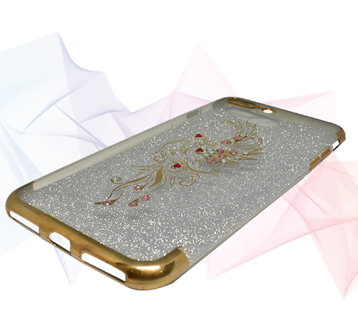 Apple Iphone 7 Plus Beads Flower Textured Glitter Back Cover - Golden - Hiffey
