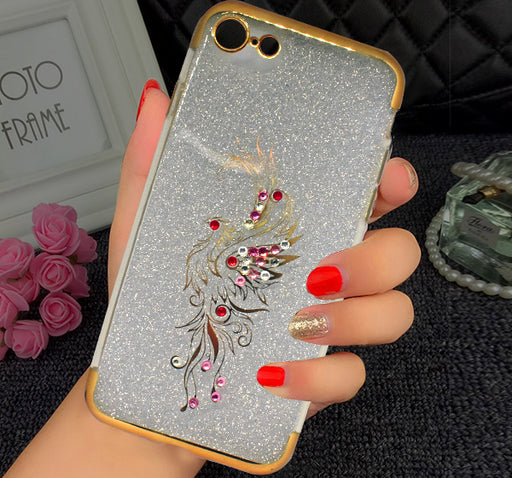 Apple Iphone 7 Beads Flower Textured Glitter Mobile Back Cover - Golden - Hiffey