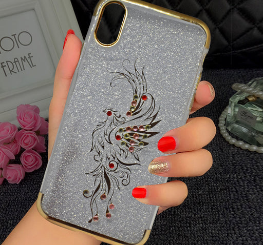 Apple Iphone X Beads Flower Textured Glitter Mobile Back Cover - Golden - Hiffey