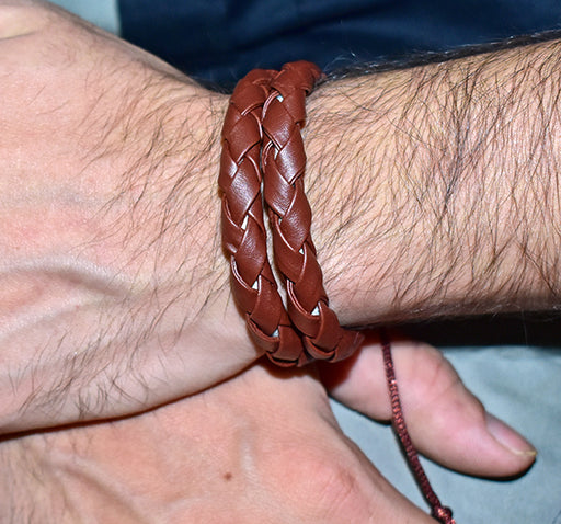 Double Layered Artificial Leather Wrist Band For Men - Brown - Hiffey