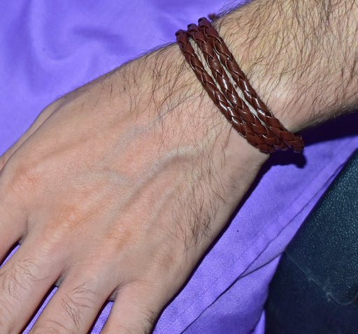 Artificial Leather Braided Bracelet For Men - Brown - Hiffey