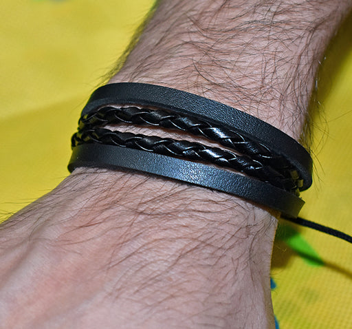Gleader Style Artificial Leather Bracelet For Men - Black - Hiffey