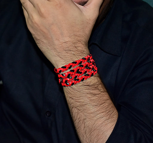 Stylish Layered Wristband For Men - Red