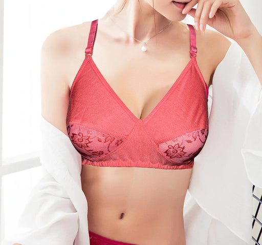 Duet Lace Non Padded Soft Cotton Demi Bra - Pink