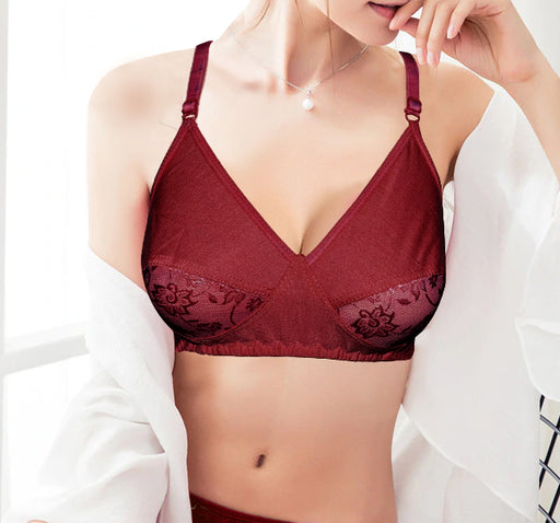 Duet Lace Non Padded Soft Cotton Demi Bra - Maroon