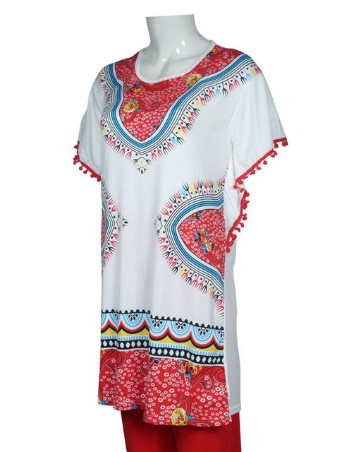 New Ethnic Design With Lase T-Shirt with Red Pajama - Hiffey