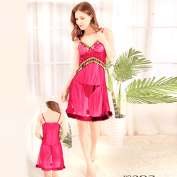 Pink Stylish Nighty with Golden Less - 993