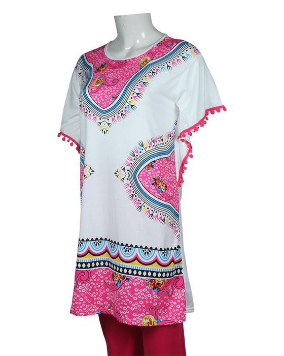 New Ethnic Design With Lase T-Shirt with Pink Pajama - Hiffey