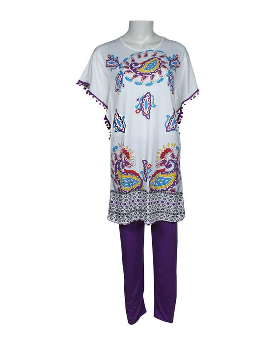 Ethnic Pattern Design T-Shirt with Purple Pajama - Hiffey