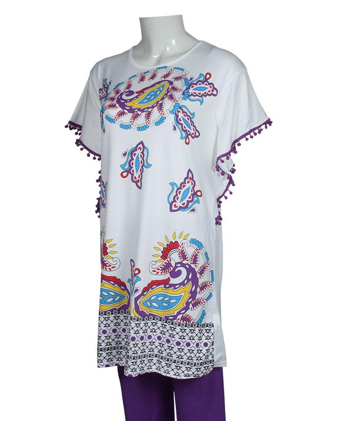 Ethnic Pattern Design T-Shirt with Purple Pajama