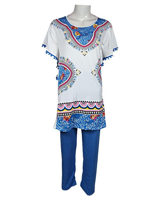 New Ethnic Design With Lase T-Shirt with Blue Pajama - Hiffey