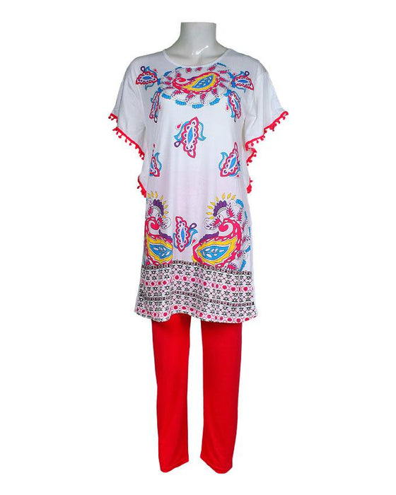 Ethnic Pattern Design T-Shirt with Red Pajama - Hiffey