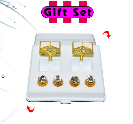 2 In 1 Gift Set For Men Golden Rectangle Shape Cufflinks, & Silver Buttons - Hiffey