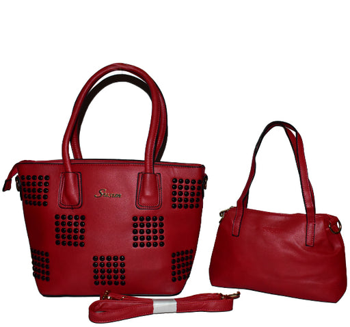 Trendy Handbag with Wallet for Ladies 2 Pcs - Maroon - Hiffey