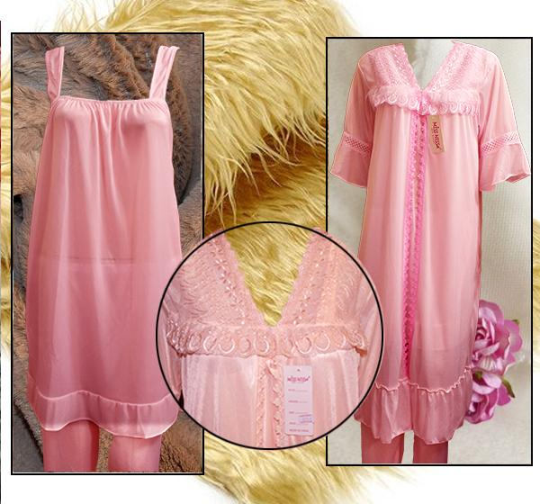 Pink Nightwear Silk Satin Night Suit for Ladies - 3 Pieces - Hiffey