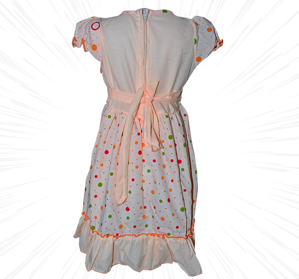 Multi Polka Dots Frock For Girls - Peach