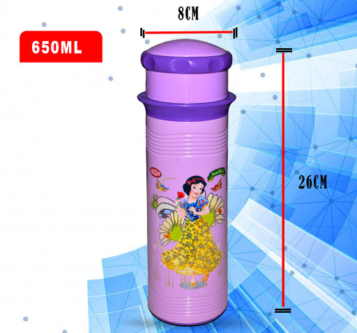 Snow White Princess Water Bottle For Kids - Purple - 650 ml - Hiffey