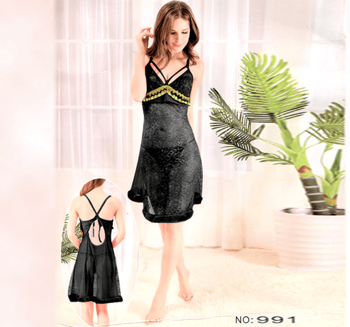 Black Stylish Nighty with Golden Less - 991 - Hiffey