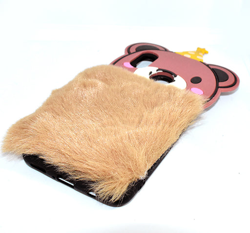 Fluffy Hairy Pizza Hat Bear Face Mobile Back Covers For Nova 3i - Brown - Hiffey