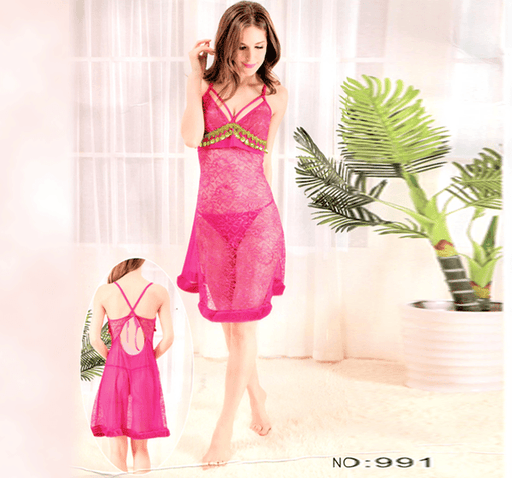 Pink Stylish Nighty with Golden Less - 991A - Hiffey